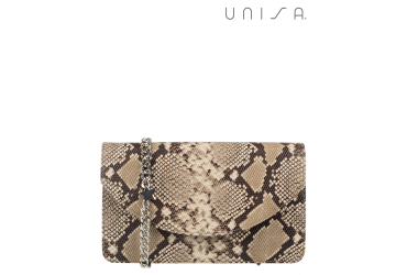 Unisa Tas Snakeprint Taupe Combinatie